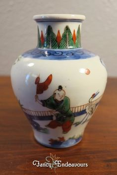 Chinese Porcelain Small Vase Imari Colors Boys Playing Games? #Unknown