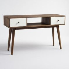 Make a mid-century-inspired statement with our console table, crafted in India of solid mango wood. Standing on conical legs, it features white lacquer drawers and a contrasting dark walnut frame and cubby space.