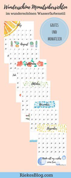 Lade dir jeden Monat eine wunderschöne und praktische Monatsübersicht herunter und werde organisiert. Sie verschönern deinen Arbeitsplatz, Planer und vieles mehr. Außerdem sind sie natürlich gratis und selbst gestaltet. Du kannst sie dir auf RiekesBlog.com herunterladen.