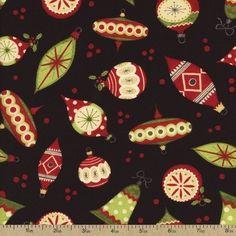 Jolly Christmas Ornaments Cotton Fabric - Black