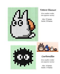 Totoro hama perler beads pattern - makes a good cross stitch pattern too Perler Bead Designs, Hama Beads Design, Hama Beads Patterns, Perler Bead Art, Perler Beads, Beading Patterns, Hama Beads Kawaii, Mini Hama Beads, Totoro