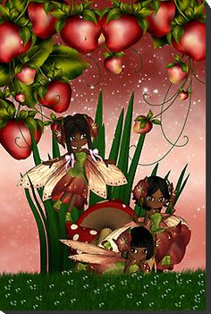 African American Strawberry Fairies African American Art, African Art, Elves And Fairies, Fairies Garden, Black Fairy, Natural Hair Art, Black Love Art, Black Angels, Black Artwork