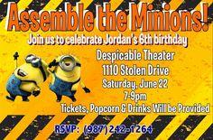Minions party invite