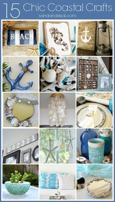 15 Chic Coastal Crafts for the Home – Sand and Sisal – Costal crafts – Home crafts Seashell Crafts, Beach Crafts, Seashell Projects, Beach Themed Crafts, Coastal Style, Coastal Decor, Coastal Furniture, Coastal Bedding, Coastal Living