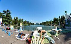 Ultimi ritocchi delle Re Boat al parco centrale del Lago dell'Eur