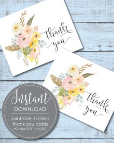 printable flower thank you cards
