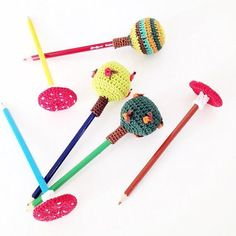 Crochet pencil toppers from space by Annemarie Benthem