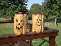 Jack O Lanterns carved out of cedar wood  sold