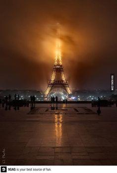 Foggy night Eiffel Tower