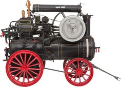 LIVE STEAM SCALE MODEL HISTORIC PORTABLE ENGINE  16 x 14 x 26 inches (40.6 x 35.6 x 66.0 cm)  Finely built and extremely well presented 1.8 scale operational model of an early horizontal boiler portable compound steam engine of circa 1880, of a type built by Marshall, Sons and Company of Gainsborough England.