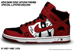 Nike Dunk High: Uchiha Madara by DertyHarry  shut up and take my money!!! #nike #madara