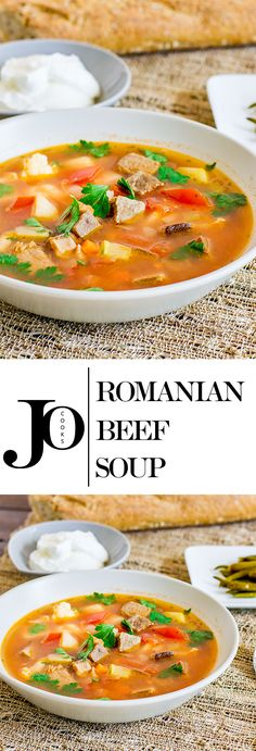 Beef Soup – a traditional Romanian soup full of veggies, very healthy and delicious. The beef is cooked for 3 hours thereby making it super moist. Beef Soup Recipes, Healthy Soup Recipes, Seafood Recipes, Cooking Recipes, Herb Recipes, Sweets Recipes, Desserts, Healthy Food, Homemade Vegetable Beef Soup