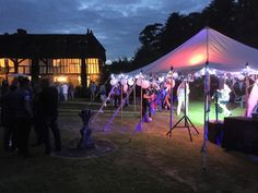 x Canvas Pole tent. Shown here as roof only cover for the perfect summer party. Just add atmospheric lighting and create the right vibes for a fun filled evening. Family Events, Tent, Lighting, Canvas, Concert, Create, Party, Summer, Cabin Tent