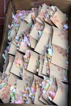 """""""confetti"""" bags filled with dried flowers to throw"""