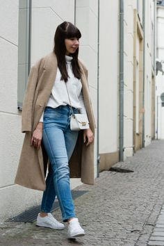 "outfit details: belted coat – Set turtleneck – COS jeans – Closed ""Pedal Pusher"" bag – Furla Metropolis sneakers – Adidas Superstar Foundation bracelets – LEPARÜ rings – Pandora, & other Stories"