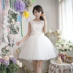 Jing Shi Romance New White Lace Sequined Knee-Length Strapless Mini Bridesmaid Dress