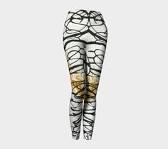 Leggings, yoga, asemic writing, opaque easy care knit, original abstract art, women's, art print, high waist, unique print, boho, athletic by paperwerks on Etsy #etsy
