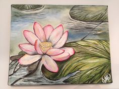 Lotus Flower and Lily Pads, by Emily Doerr, my painting for sale on Etsy. - EmilysArtandDesign