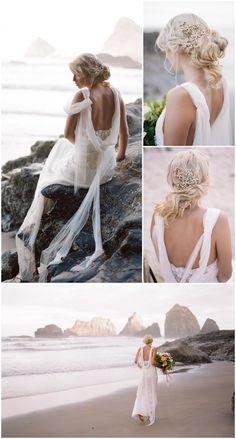 Beach bride lace wedding dress by Joanne Fleming Design in a romantic Oregon coast shoot by Koby Brown