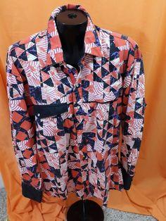 1d7433a7a55 Rockmount Ranch Vintage Western Shirt Geometric Print Size M Red White  Black  RockmountRanchWear  Western