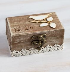 Ring Bearer Box Wedding Ring Box We Do Wedding Box  Rustic Ring Bearer Box Custom Ring Bearer Box  Pillow Alternative Birds Ring Box by MyHouseOfDreams on Etsy https://www.etsy.com/listing/211999527/ring-bearer-box-wedding-ring-box-we-do