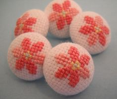 Peach Colored Flower Hand Embroidered Buttons by Kathie514, via Flickr
