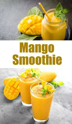 Smoothies With Yogurt, Mango Smoothie Healthy, Almond Milk Smoothie Recipes, Mango Pineapple Smoothie, Mango Drinks, Mango Fruit, Healthy Drinks, Healthy Snacks, Smoothie Diet Plans