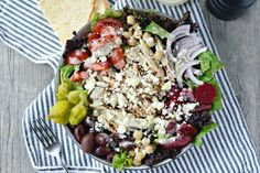 The Best Grilled Chicken Greek Salad with Creamy Greek Dressing