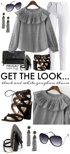 Frugal Fashion Friday Black & White Gingham Blouse on Frugal Coupon Living. This outfit of the day includes  White Pants, Tory Burch Crossbody, and Fringe Black and White Earrings.