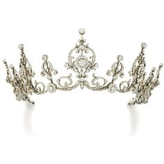 Diamond tiara/necklace, circa 1900 | Lot | Sotheby's ❤ liked on Polyvore featuring jewelry, necklaces, accessories, crowns, hair accessories, tiara, wine jewelry, diamond jewellery, diamond jewelry and crown jewelry