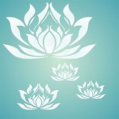 Lotus Blossom Stencil - Combine Different Sizes to Get This Effect - Reusable Wall Stencils for Painting - Best Quality Wall Art Décor Ideas - Only Available From Stencils for Walls - Use on Walls, Floors, Fabrics, Glass, Wood, Terracotta, and More...