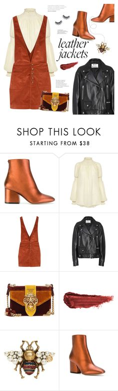 """""""Cool-Girl Style: Leather Jackets"""" by bklana ❤ liked on Polyvore featuring Salvatore Ferragamo, Rachel Comey, Free People, Acne Studios, Prada, By Terry, Gucci, leatherjackets and bklana"""