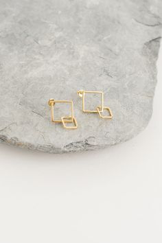 Square Drop Earring, Gold Plated