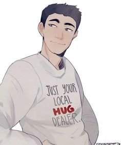 """Frank Zhang from the Percy Jackson series!!! Wearing his """"just your local hug dealer"""" shirt."""