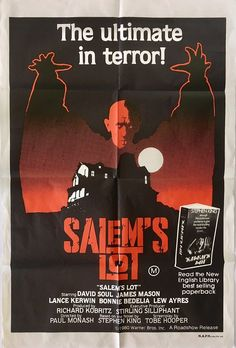 salems lot australian one sheet poster, Steven King horror/vampire movie. Available for purchase fro All Horror Movies, Funny Horror, Horror Movie Posters, Film Posters, Salem Lot, Stephen King Movies, Steven King, Horror Pictures, Horror Monsters