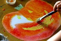 Watercolor Resist Pumpkin Art - Things to Make and Do, Crafts and Activities for Kids - The Crafty Crow