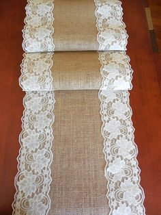 EXTRA LONG Burlap table runner wedding table runner with ivory lace rustic romantic table decor wedding linens rustic wedding Wedding Reception Table Decorations, Wedding Table Flowers, Decor Wedding, Wedding Tables, Reception Signs, Wedding Linens, Lace Table Runners, Burlap Table Runners, Lace Runner
