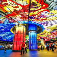 """R10/O5 Formosa Boulevard Station(高捷美麗島站).The station is known for its """"Dome of Light"""", the largest glass work in the world. It was designed by Italian artist Narcissus Quagliata. It is 30 metres in diameter and covers an area of 2,180 square metres. It is made up of 4,500 glass panels. The dome will be offered as venues for weddings. (scheduled via http://www.tailwindapp.com?utm_source=pinterest&utm_medium=twpin&utm_content=post27861864&utm_campaign=scheduler_attribution)"""