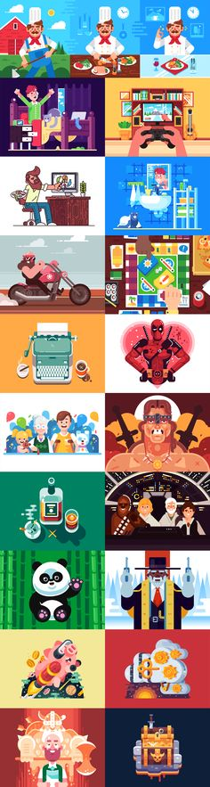 Showcase and discover creative work on the world's leading online platform for creative industries. Flat Design Illustration, Character Illustration, Graphic Illustration, Character Flat Design, Flat Drawings, Book Of Job, Shape Art, Creative Industries, Illustrations And Posters