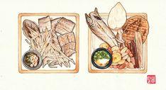 Food art Food Drawing, Drawing S, Food Cartoon, Food Illustrations, Food Art, Anime Art, Food And Drink, Watercolor, My Favorite Things