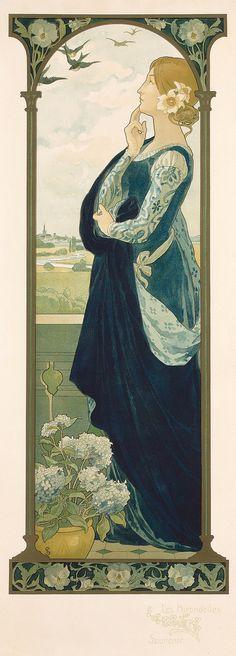 "Mucha Style - "" #TheSwallowsOfRemembrance"" Illustration in style of ""Alphonse Mucha"" by ""Elisabeth Sonrel (1874-1953)""(Elisabeth Sonrel"