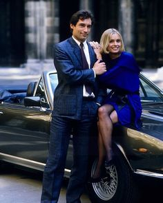 """Class Golden Era on Instagram: """"Maryam d'Abo and Timothy Dalton on the set of the James Bond movie ''The Living Daylights'' in 1986."""" Timothy Dalton, James Bond Movies, Hollywood, Retro, Portrait, Classic, Instagram Posts, Photography, Fictional Characters"""