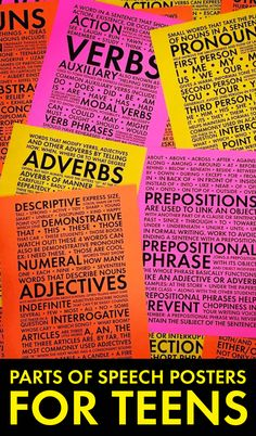 """""""Eye-candy for teens"""" is how the original pinner describes these posters. I can just imagine my high school students gazing around the classroom and fixating on these colourful, handy posters that describe parts of speech."""