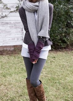 Love this color combination for fall or winter - gray leggings, with a darker gray sweater, light gray scarf, and a pop of color with the purple sleeves.