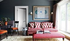 Briefed to steer clear of white and leather, Adam Bray and his team set about transforming this London flat - created from two one-bedroom flats joined together - with rich colour, luxurious fabrics and attention to detail. Sofa Design, Furniture Design, One Bedroom Flat, French Dining Chairs, Dining Table, Eaton Square, Interior Decorating, Interior Design, Nordic Interior