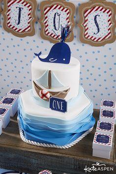 Nautical First Birthday Party Ideas   Sailing Party   www.kateaspen.com   Kate Aspen   Red White & Blue   Nautical Birthday Cake