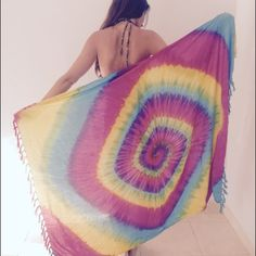 "Gorgeous tie dye rainbow sarong Handmade in Bali, beautiful new rainbow tie dye design sarong for 2016. Sarong tapestries are perfect festival essentials and can be used for home decor. Blue complimentary colors for a bold statement:) approximately size 36"" by 72"". Happy shopping! Handmade Accessories"