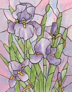 """Stained Glass Iris"" - by Sara Mullen"
