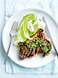 Char-grilled Steak with Green Olive, Caper and Basil Salsa by donnahay #Beef #Steak
