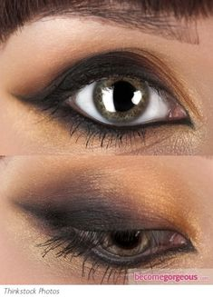 Glamorous smokey cat eyes makeup look. Prep your lids with a soft black kohl pencil to line the upper and lower lash lines. Smudge the eyeliner with a brush or cotton swab, lifting the line at the outer corner to create the cat eye shape. Apply black eyeshadow over the smudged liner and shimmery gold around it to soften the edges. Blend eyeshadows carefully and apply mascara.